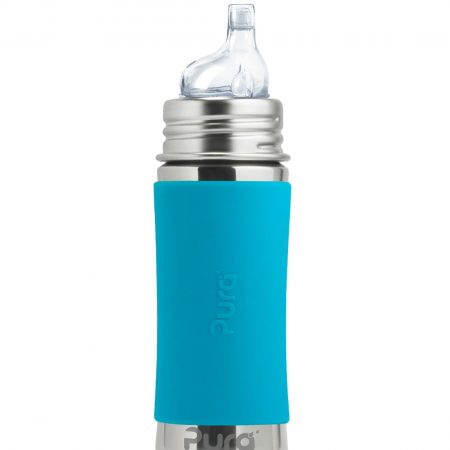 blue stainless steel baby bottle