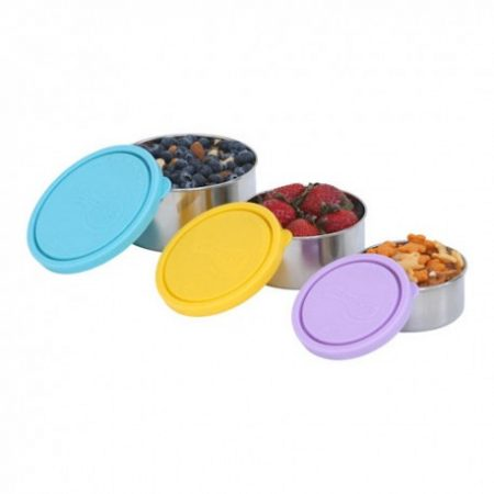 set of stainless steel containers lunch
