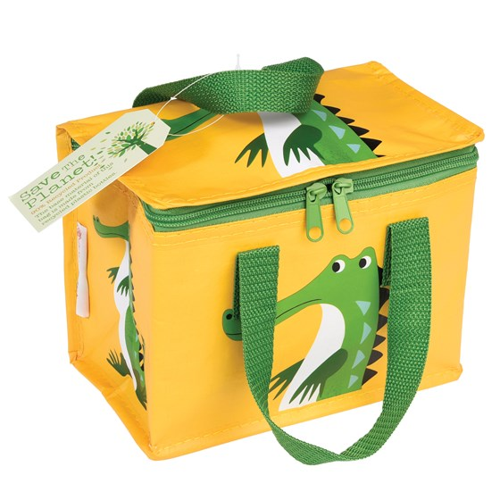 croc print foil insulated lunchbox made from recycled plastic bottles