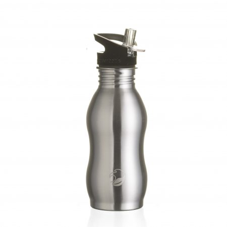 curvy stainless steel bottle black quench