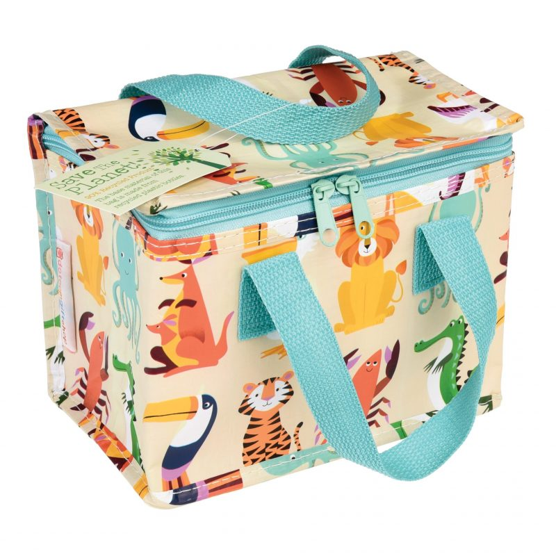 colourful creatures foil insulated lunchbag made from recycled bottles- children's lunch box