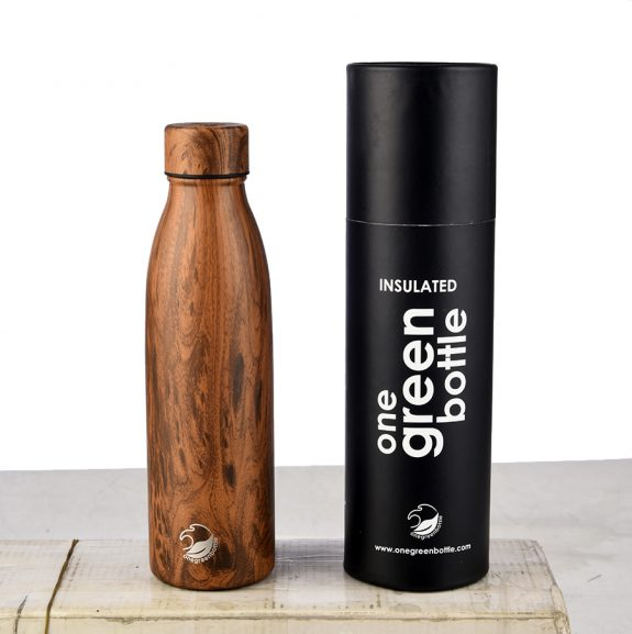 thermal bottle wooden stainless steel