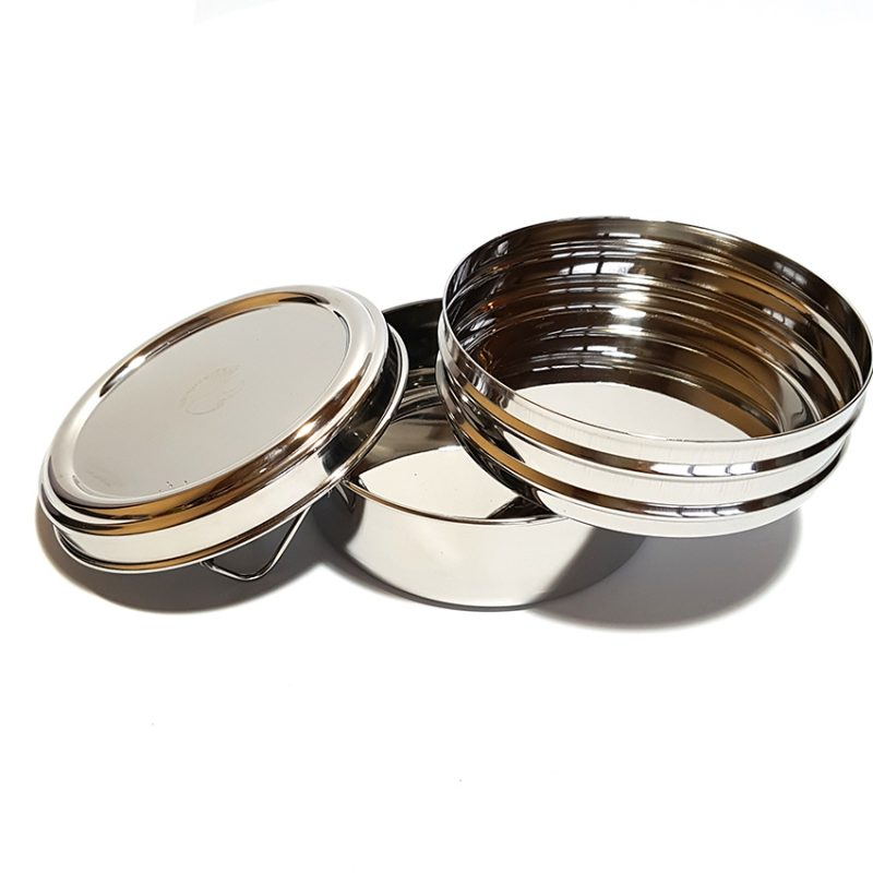 2 tier circular stainless steel lunchbox open