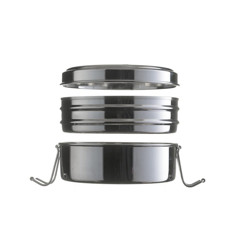 circular 2 tier stainless steel lunchbox