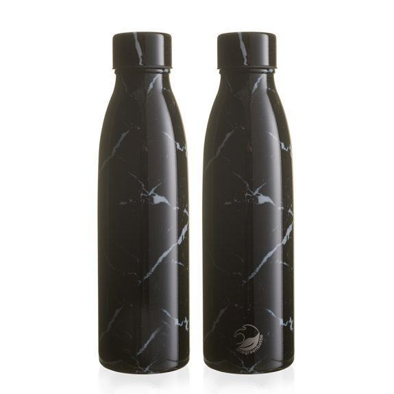 500ml black marble thermal insulated personalised