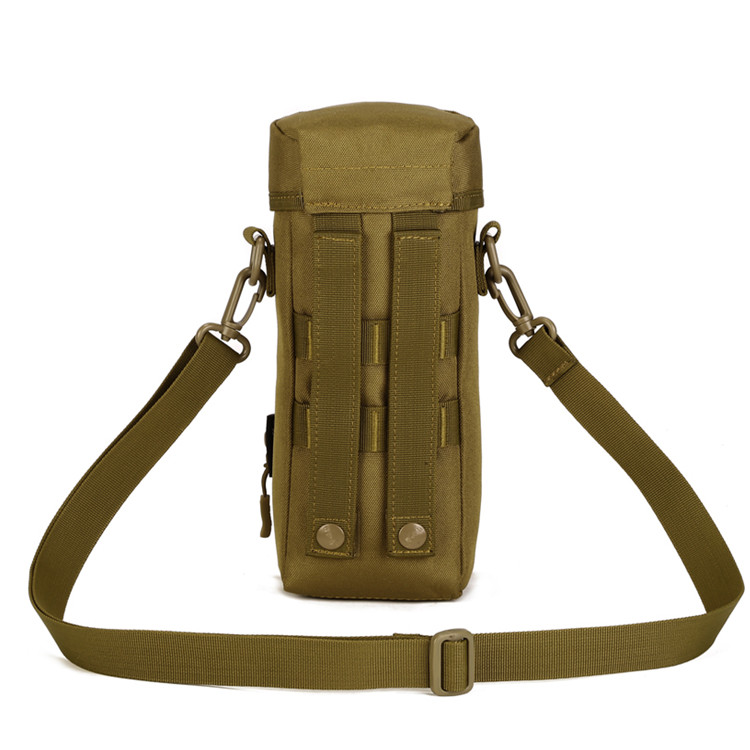 khaki tactical water bottle holder with strap and pockets hiking bag