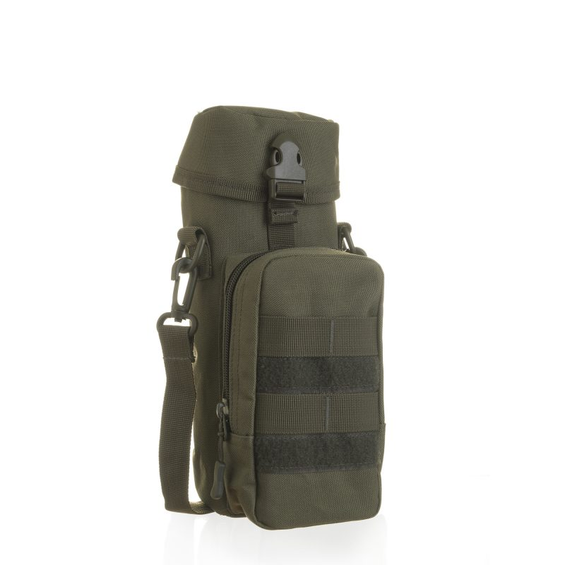 army style bottle carrier with phone and key pocket in khaki