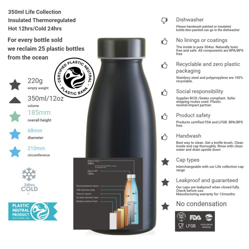 350ml black life collection bottle steel cap and product info