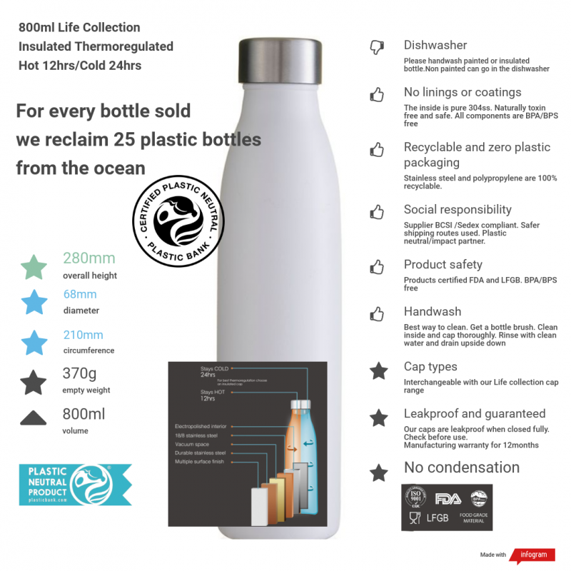 800ml life collection thermal insulated bottle with product details