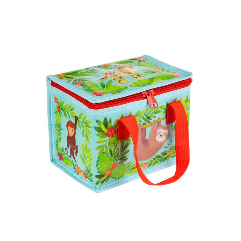 sloth printed insulated lunch bag made from recycled bottles