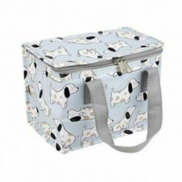 dog print foil insulated lunch box made from recycled plastic