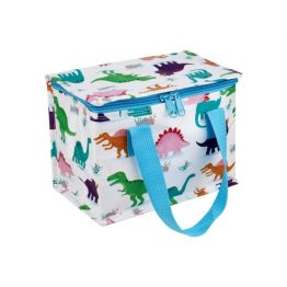 dinosaur print foil insulated lunch bag made from recycled bottles