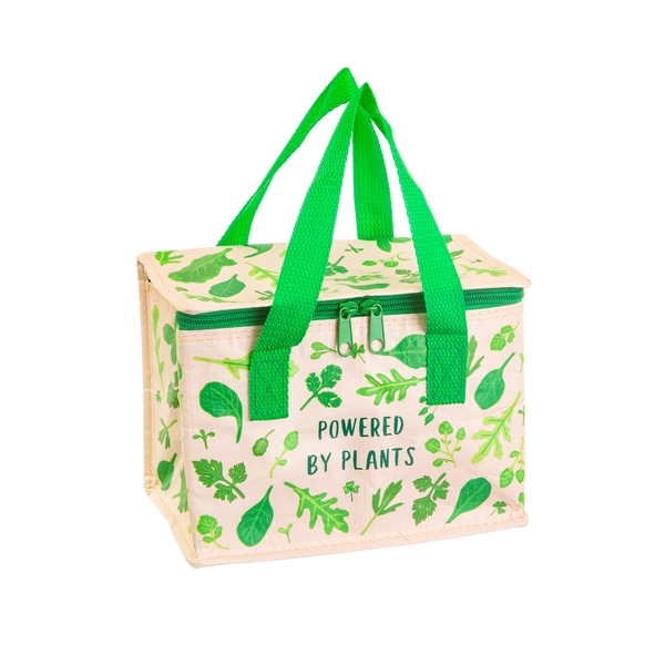 powered by plants foil insulated lunch bag made from recycled plastic bottles