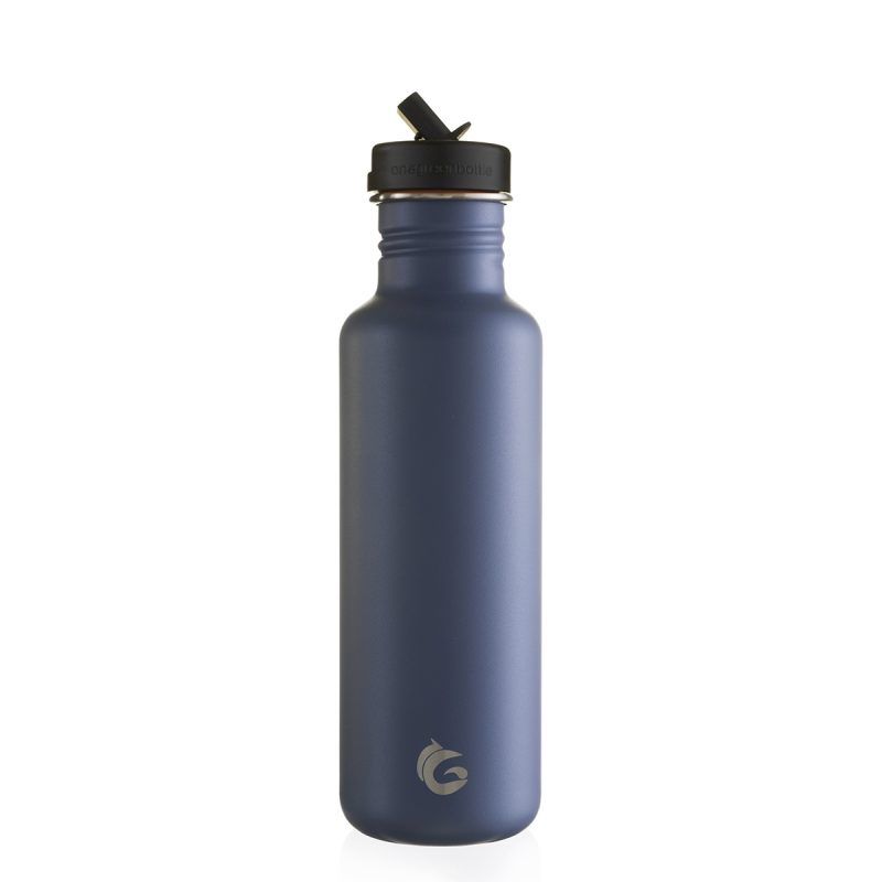 Sustainable cycling water bottle shark fin blue canteen with sports cap