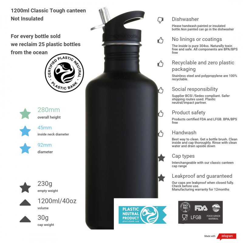 1200ml liquorice black tough canteen with product info