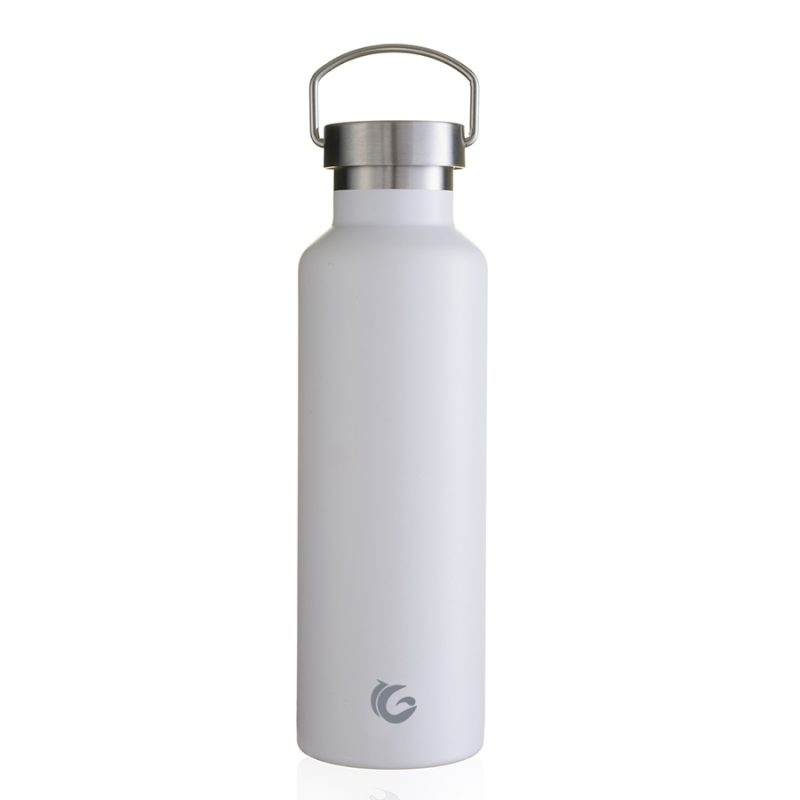 laser etch sample bottle600ml white thermal insulated steel bottle with steel handle cap