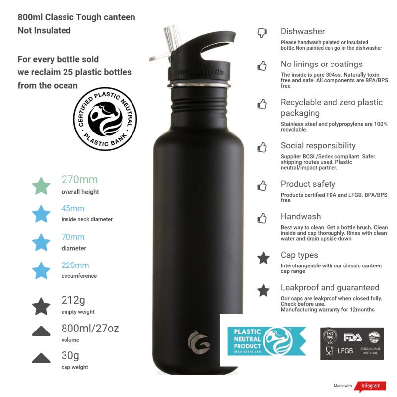 800ml liquorice black tough canteen and information