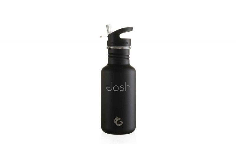 liquorice black tough canteen with quench cap, straw and horizontal personalisation