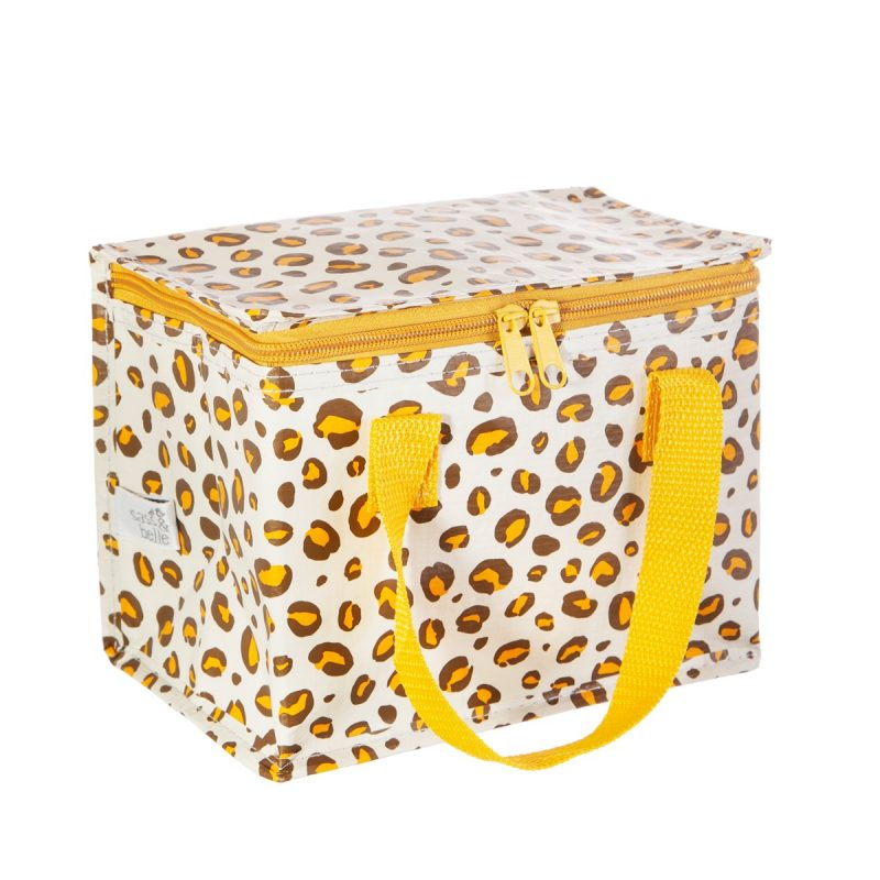 natural leopard print lunch bag made from recycled plastic sass and belle x onegreenbottle