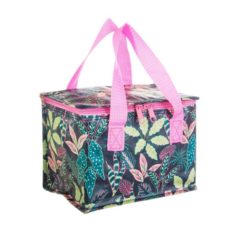 Variegated leaves print lunch bag made from recycled plastic bottle