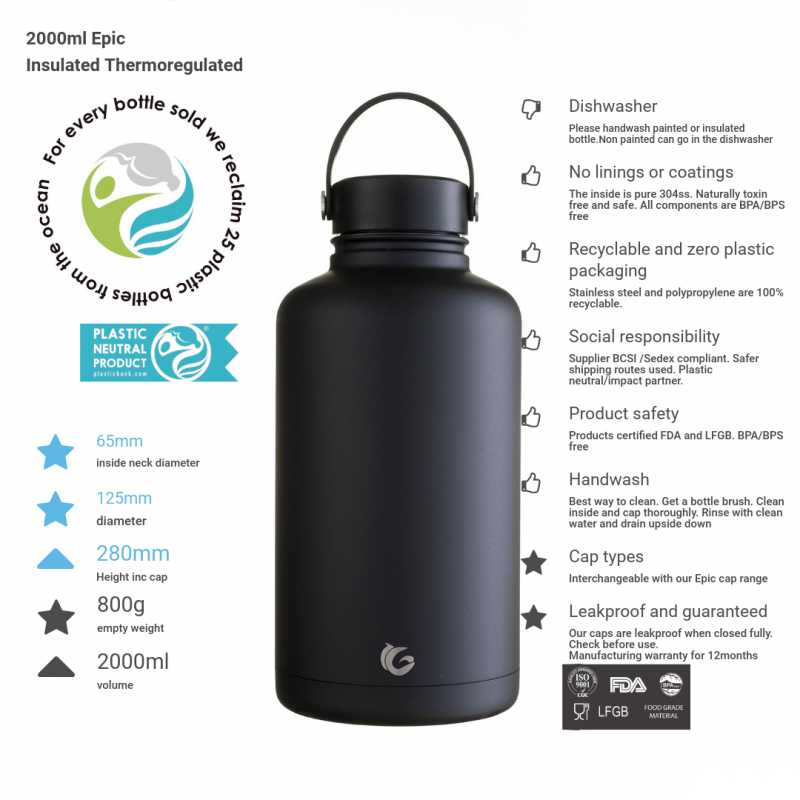 2 litre epic bottle in liquorice black, thermal insulated canteen with product information