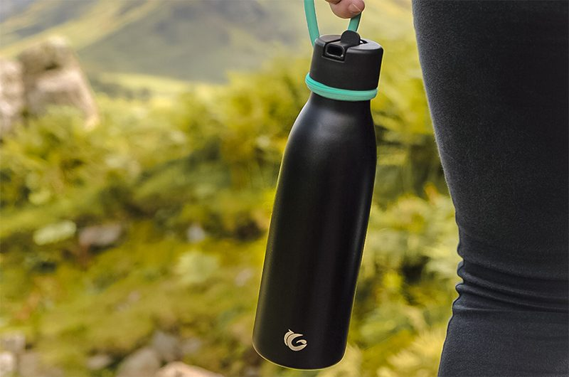 500ml thermal insulated life bottle in black with turquoise sloop