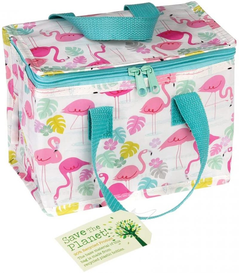 flamingo lunchbag made from recycled bottles