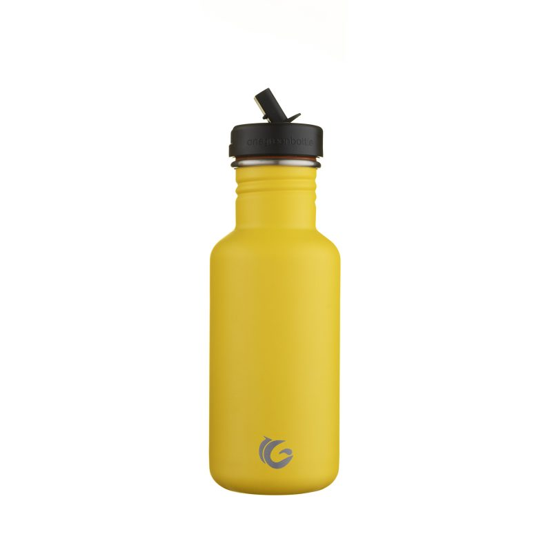 reusable yellow water bottle 500ml bumble stainless steel tough canteen onegreenbottle