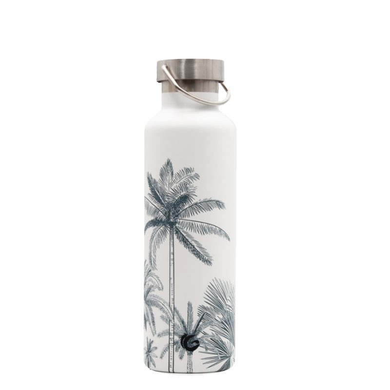 600ml palm springs white classic thermal insulated vacuum bottle with steel cap