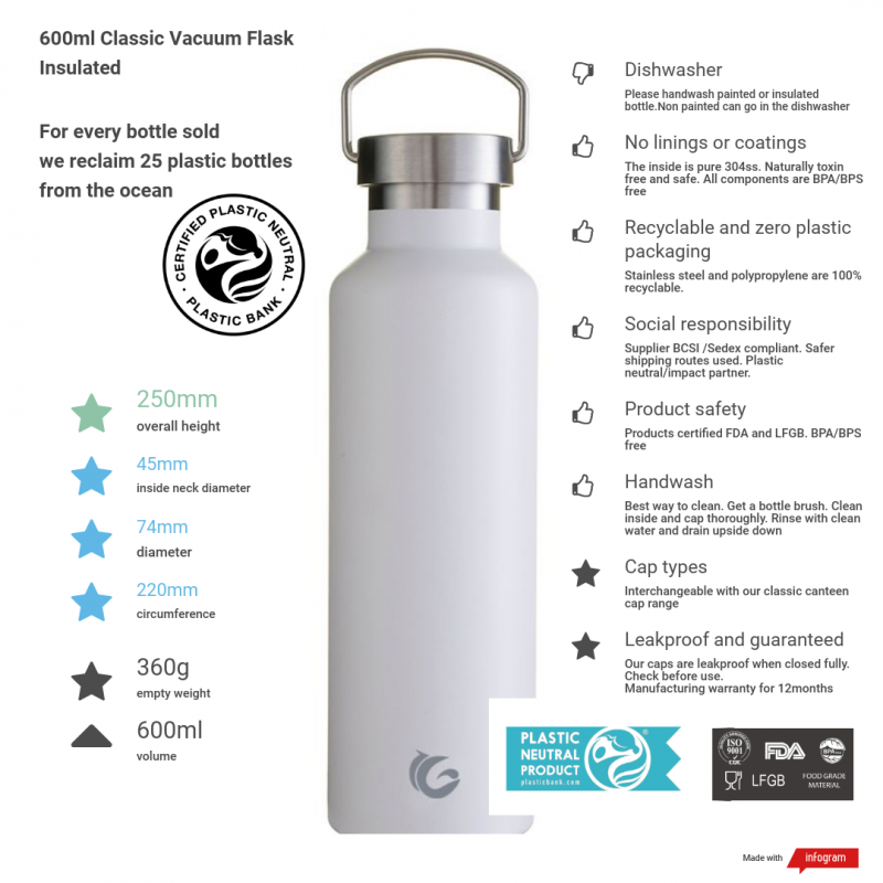 600ml vacuum canteen 2020 sustainable