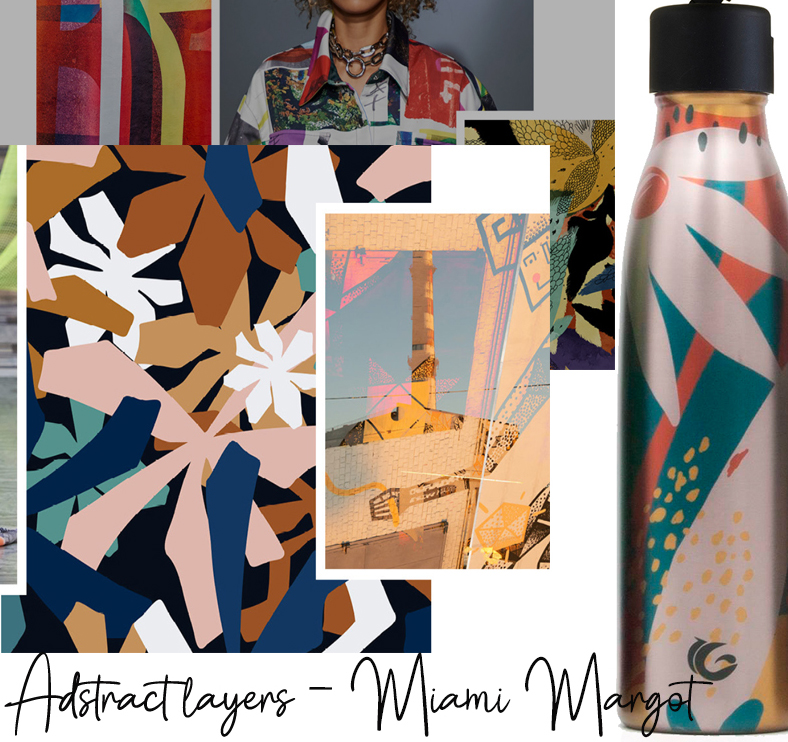 500ml Miami Margot stainless steel bottle abstract print