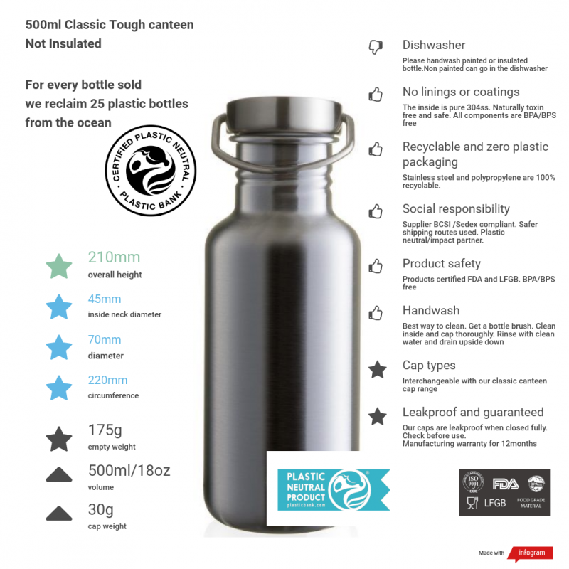 500ml steel tough canteen with cap handle and information
