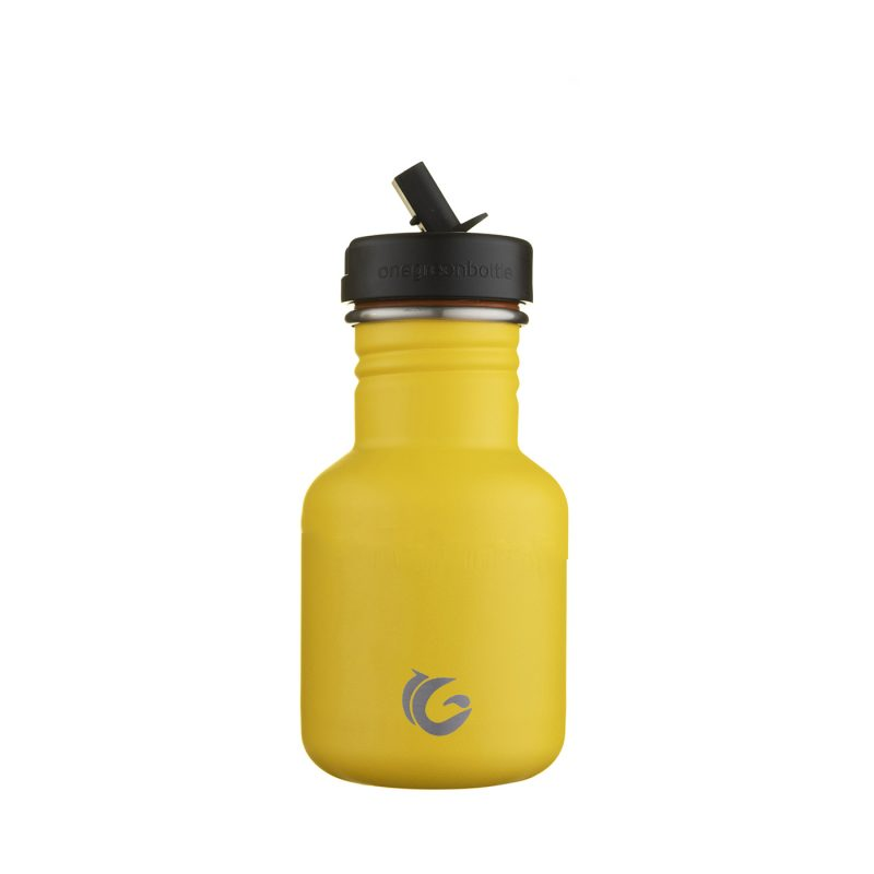 Kids yellow water bottle - eco bumble stainless steel tough canteen