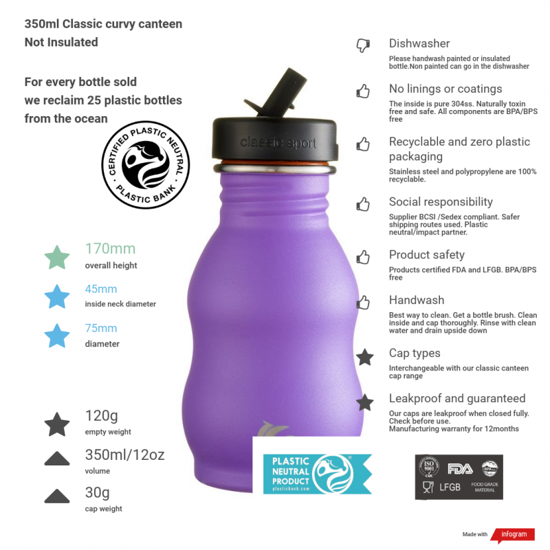 350ml unicorn purple curvy canteen with product information