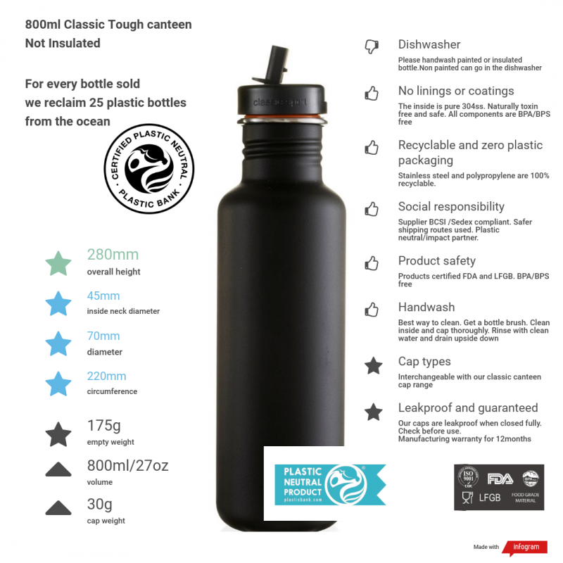 800ml liquorice black tough canteen with sports cap and stats