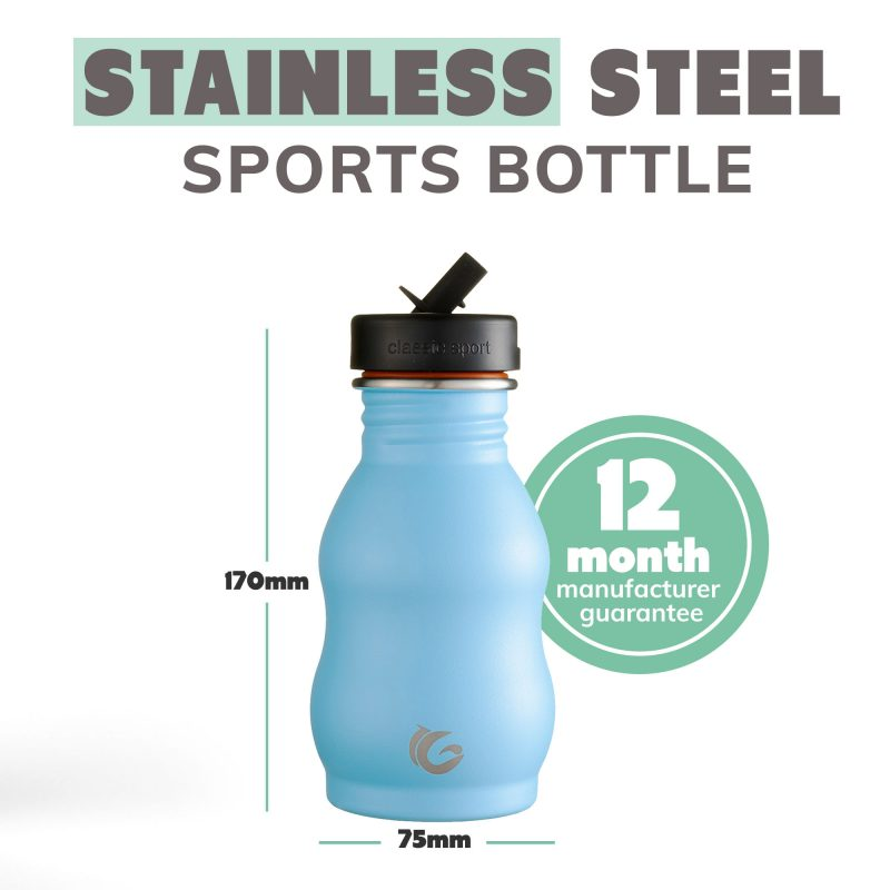 curvy blue stainless steel ecobottle